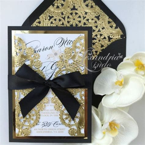 Wedding Invitations Black And Gold by Classic Black And Gold Wedding Invitation By