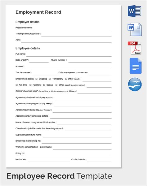 Employee Record Templates 32 Free Word Pdf Documents Download Free Premium Templates Personnel Records Template