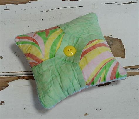 Patchwork Pincushion - bowtie patchwork pincushion folk vintage quilted feed