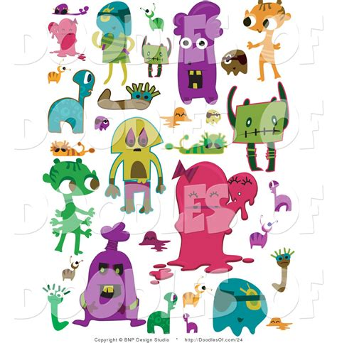 doodle monsters vector free vector clipart of colorful doodles by bnp design