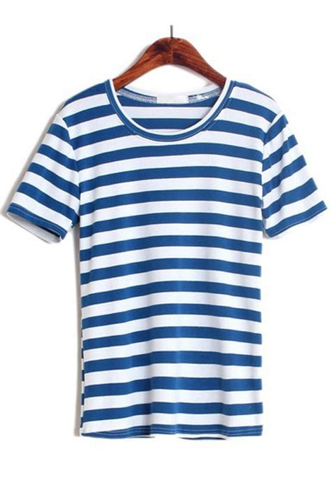 Sleeve Print Striped T Shirt multicolor striped print sleeve cotton t shirt t