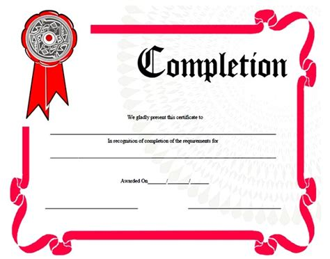 blank certificate of completion program template sle