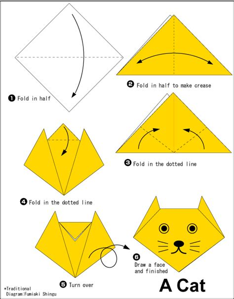 Simple Origami For Printable - origami cat easy origami for