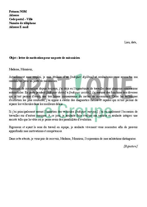 Exemple De Lettre De Motivation Mecanique Lettre De Motivation Pour Un Emploi De M 233 Canicien Pratique Fr