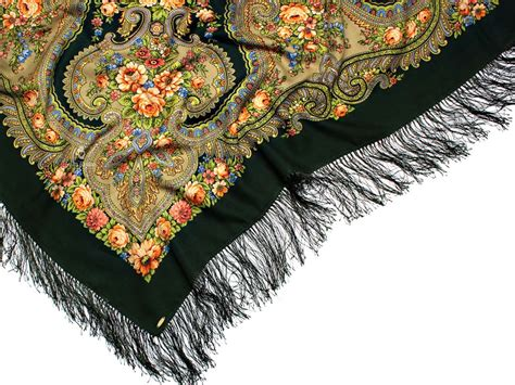 ruslana fringed russian scarf with floral pattern