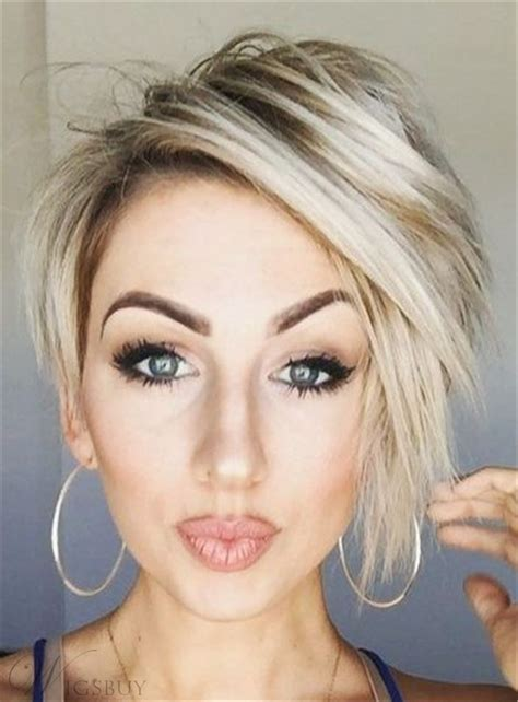 pixie haircut short straight synthetic lace front wigs 8