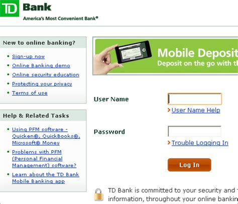 banking login td bank banking login