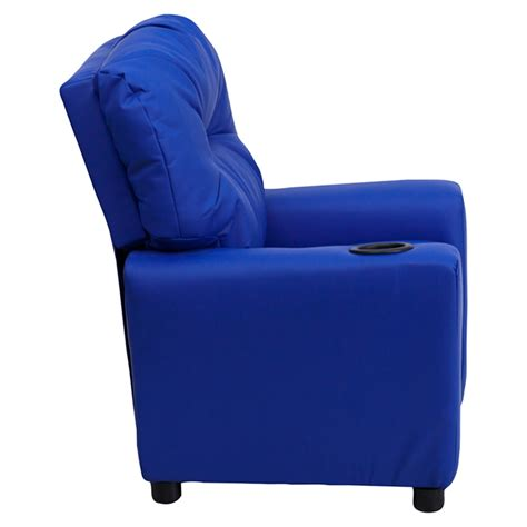 upholstered recliner chairs upholstered kids recliner chair cup holder blue dcg