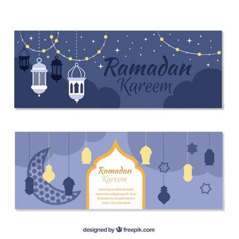 design banner ramadan ramadan kareem banners with decorative objects vector