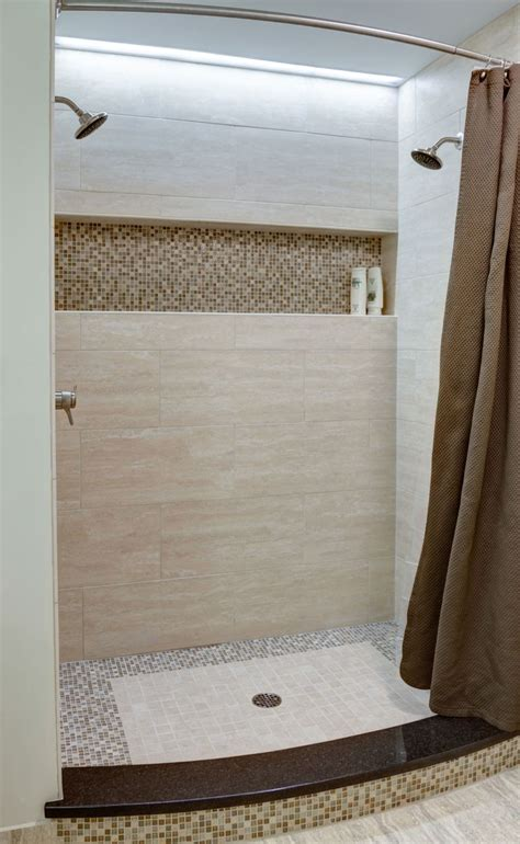 Shower Curtain Ideas For Small Bathrooms by The Master Bath Shower Has Two Showerheads And A Long