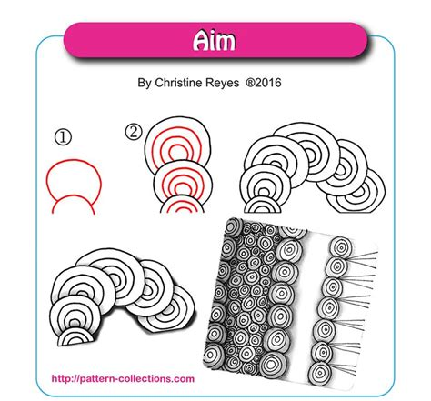 zentangle pattern guide aim by christine reyes zentangle step by step