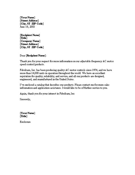 Response Letter To Request Reply To Request For Product Information Letter Templates