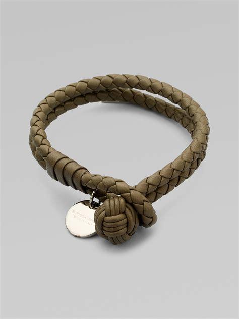 Bottega Bracelet bottega veneta intrecciato leather row wrap bracelet in gray lyst