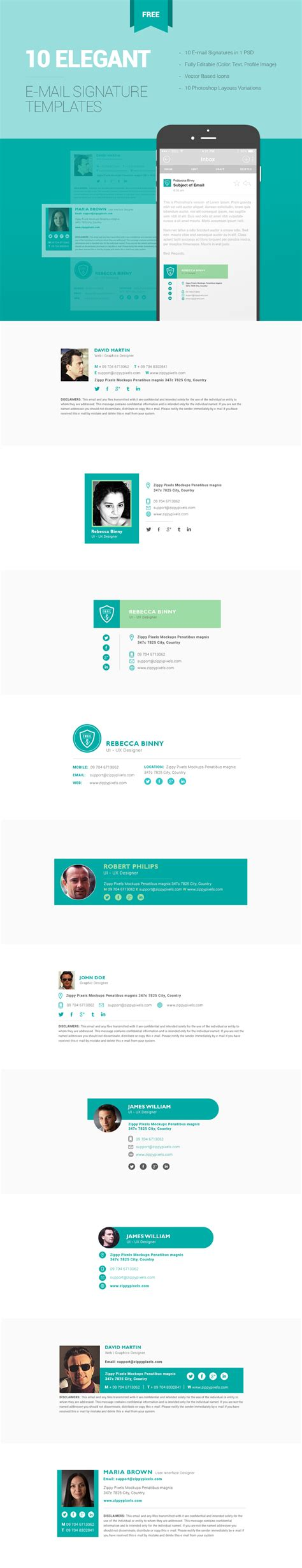 email template psd free 10 free email signature templates in one psd zippypixels