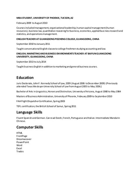 Jd Mba Resume by Zandt Resume