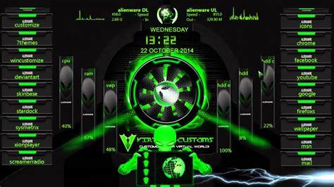 alienware skin rainmeter modification green youtube