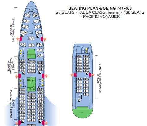 boeing 747 400 plan si鑒es air pacific airlines aircraft seatmaps airline seating
