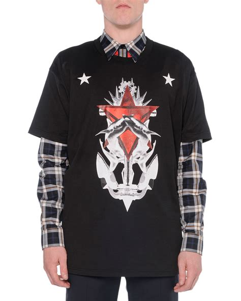 Kaos Givenchy Shark Black givenchy shark graphic in black for lyst