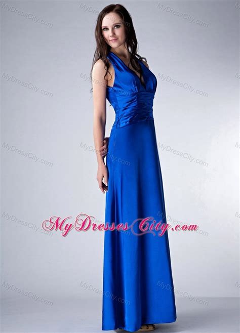 royal blue v neck bridesmaid dress with wide ruched belt