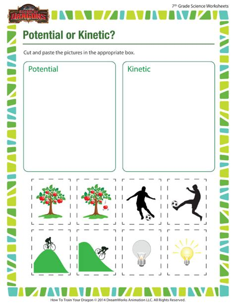 Potential And Kinetic Energy Worksheet by Potential Or Kinetic Worksheet Middle School Science