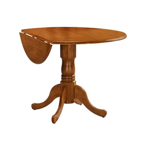 42 Inch Drop Leaf Pedestal Table by International Concepts T04 42dp Dual Drop Leaf