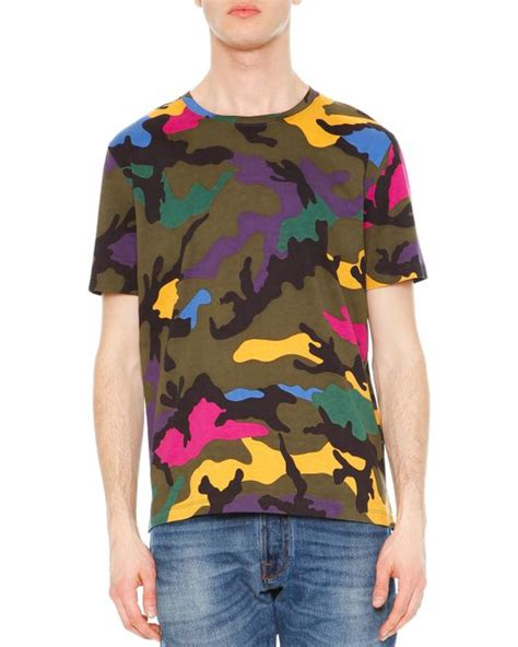 Camouflage Print Crewneck T Shirt valentino camo print crewneck t shirt in multicolor for