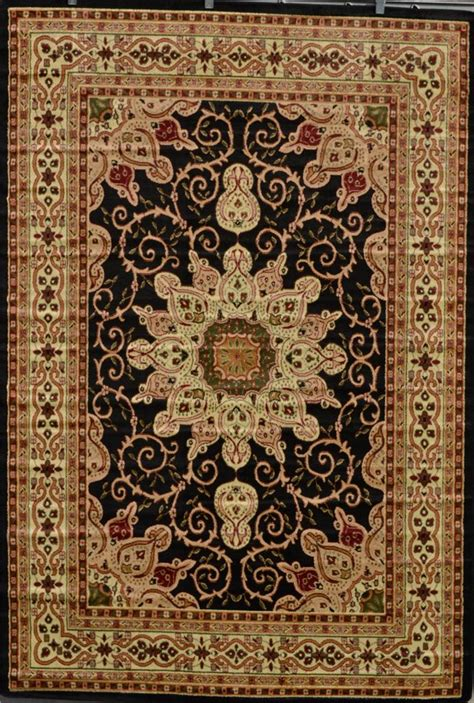 Green And Black Area Rugs by Burgundy Ivory Green Beige Black Isfahan Area
