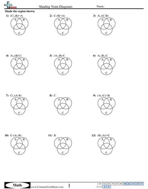 sets shading venn diagrams all worksheets 187 maths sets worksheets printable