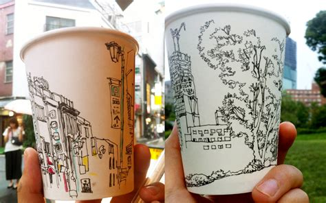 Drawing To Go ? Sketch on a coffee cup canvas
