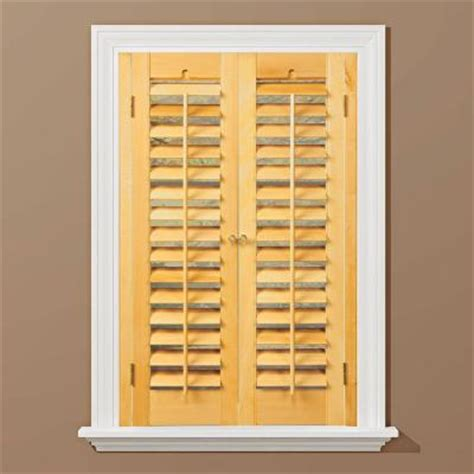 interior wood shutters home depot homebasics plantation light teak real wood interior shutter price varies by size qspd3136