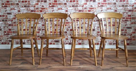 Rustic farmhouse beech dining chairs with slat backs