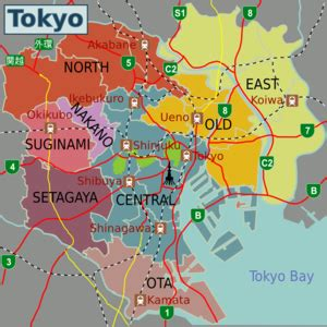 complete japan tokyo city map  travelers tokyo city