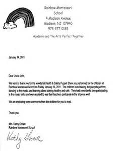 Recommendation Letter For A Pre K Student Recent Thank You Notes S Puppet Shows