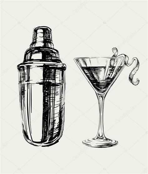 cocktail shaker vector sketch cosmopolitan cocktails and shaker vector hand drawn