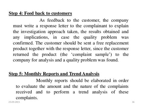 Complaint Letter Product Quality market complaints and product recall
