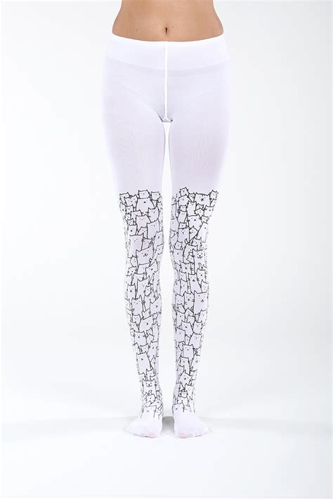 Cat Printed Tights clowder of cats white virivee tights