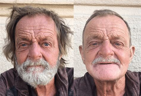 homeless haircuts before and after hairdresser gives free haircuts to homeless people