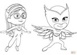 pj masks characters coloring pages pajama hero amaya is owlette from pj masks coloring page