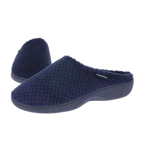 navy slippers isotoner slippers terry mule navy shoetique free delivery