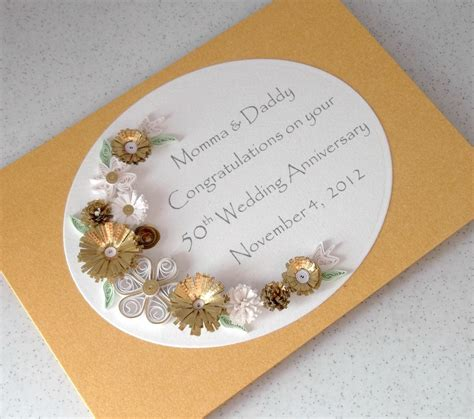 Handmade 50th Wedding Anniversary Cards - quilled 50th golden wedding anniversary card handmade paper