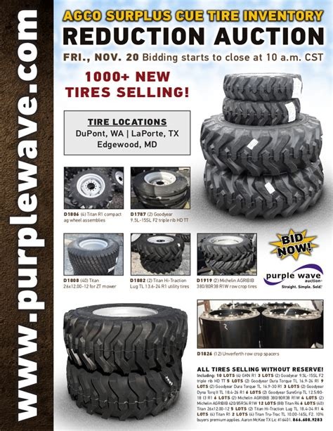 sold november 20 agco surplus cue tire inventory