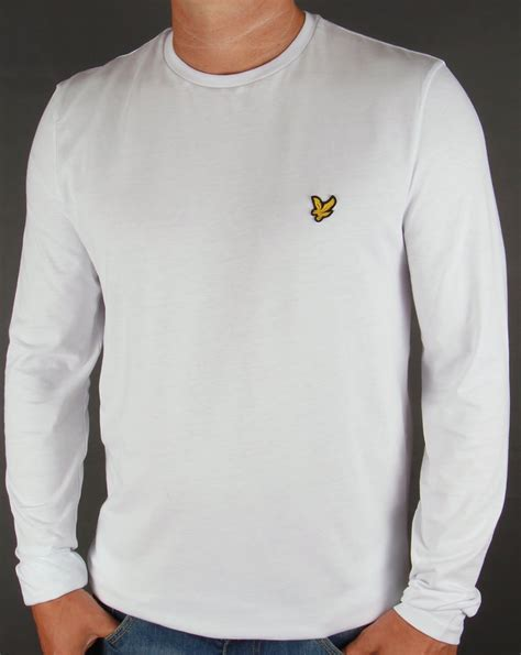 T Shirt | lyle and scott long sleeve t shirt white tee crew neck men s