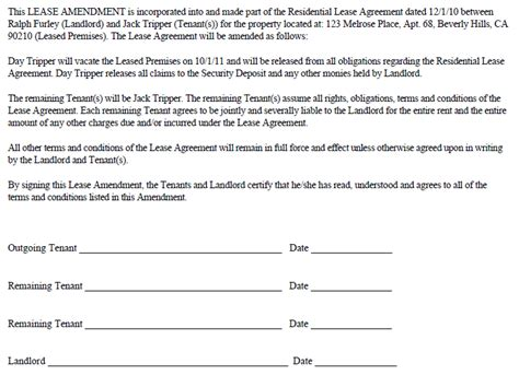 Remove Name From Lease Letter Sle remove tenant amendment ez landlord forms