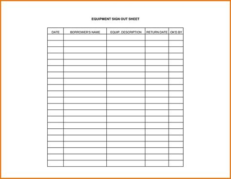 tool sign out sheet template equipment sign out sheet template projects to try