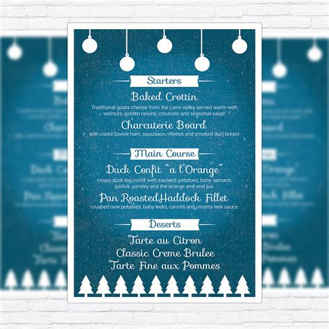 christmas menu premium a5 menu template exclsiveflyer