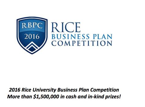 Rice Mba Calendar by 2016 Rice Business Plan Competition Usd