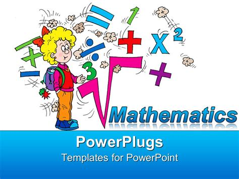 Powerpoint Template Math Related Symbols And The Word Mathematics With A Blond Girl Pupil On Mathematics Powerpoint Templates