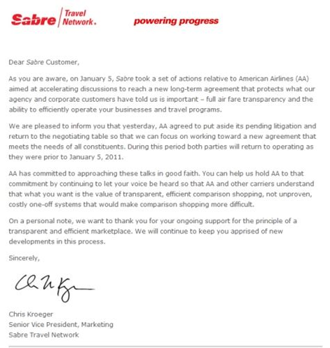 Customer New Year Letter Sabre Urges Customers To Keep Pressure On American Airlines Tnooz