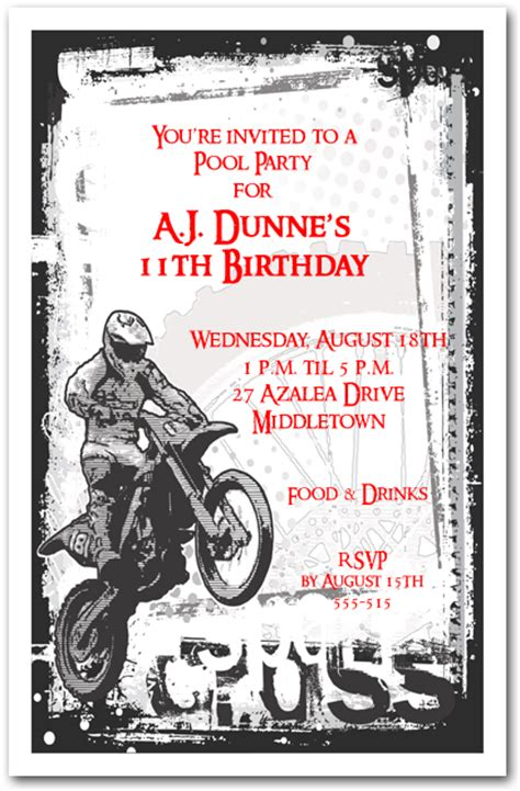 Motocross Grunge Invitation Motorcycle Birthday Invitation Motorcycle Birthday Invitation Templates