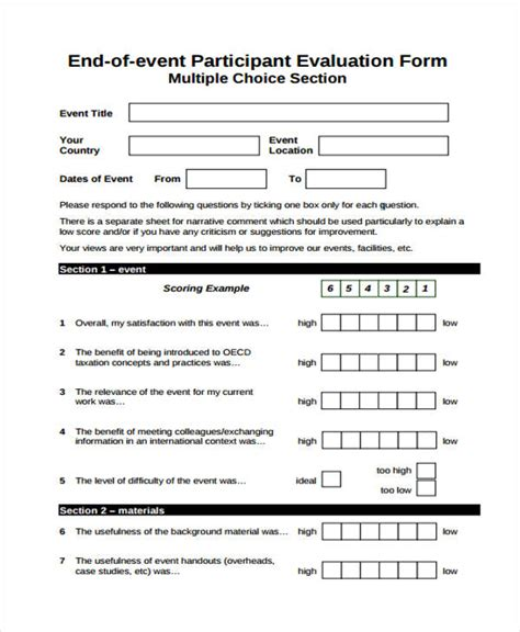 32 Free Event Evaluation Form Participant Evaluation Form Templates